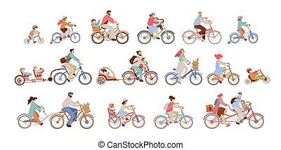 vacation., couperet, famille, homme, copilote, différent, ville, kids., actif, fixe, -, croiseur, bmx, hybride, types, équitation, bicycles, caravane, enfants, engrenage, femmes, vélo, équilibre, ensemble