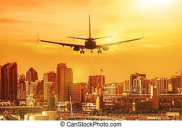 San Diego Vacation Destination. Airplane Preparing to Landing in the San Diego, California, United States.