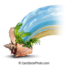 Vacation destination travel and liesure concept as an ocean conch shell with tropical plants and hot sandy beach emerging as a fun in the sun symbol of a relaxation escape shaped as a wave on a white background.
