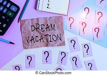 vacation., disfrute, sobre, escritura, colores, fondo., o, ...
