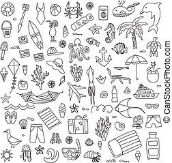 Vacation doodles vector illustration set