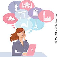 Young woman sitting at the computer, choosing vacation destination, vector cartoon