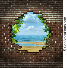 Vacation escape concept and getting away symbol as a broken brick wall revealing a tropical beach rersort tourist attraction as an icon for escaping the city to a warm paradise destination.