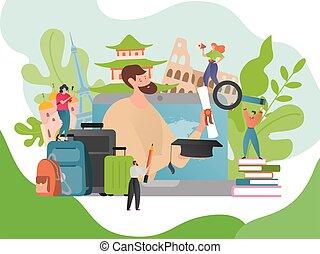 vacation., estrangeiro, aprendizagem, viagem, viajar, verão, concept., língua, illustration., vetorial, estrangeiro, languages., viajante, educação