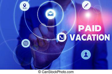 vacation., fermé, signification, écriture, texte, payé, week-end, concept, temps, benefits., sabbatique, vacances
