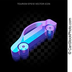 Vacation icon: 3d neon glowing Car made of glass, EPS 10 vector.