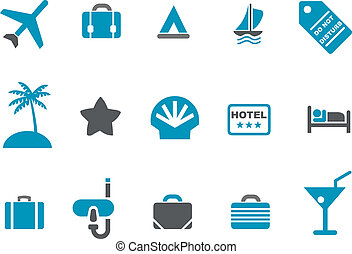 Vacation icon set - Vector icons pack - Blue Series, ...