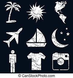 Vacation icon set, white grunge
