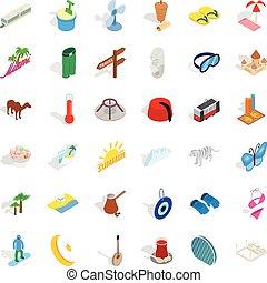 Vacation icons set, isometric style - Vacation icons set....