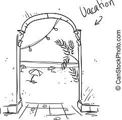 Vacation illustration. Summer holiday icon.