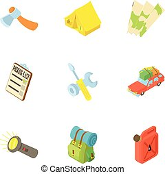 Vacation in forest icons set, cartoon style