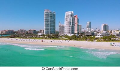 Vacation in Miami Touristic City, Aerial View, 4k - Aerial ...