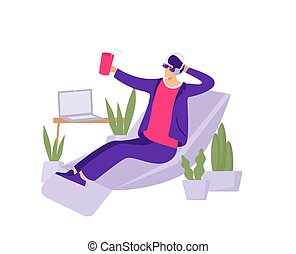 Vacation in office illustration. An employee imagines himself on tropical beach while sitting at work in an armchair non selling dreams of rest dreams of full fledged vector vacation.