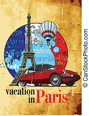 "Vectorial round vignette on theme of French and Paris with inscription ""Vacation in Paris"" on background French symbolism and Tower, executed in National color of French. No gradients and blends. Strokes are not expanded."