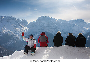Vacation in the mountains. Ski resort Madonna di Campiglio. Ita