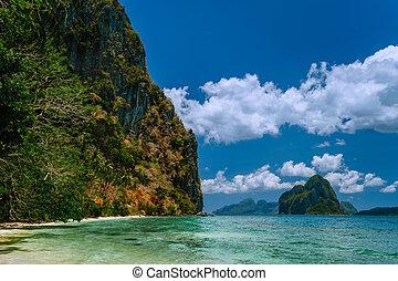 Vacation on beautiful tropical island, relax chill getaway enjoy summer in El Nido, Palawan island, Philippines
