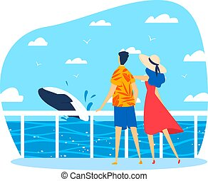 Vacation on ocean, hot summer, couple on seashore watching whale, design cartoon style vector illustration, isolated on white.