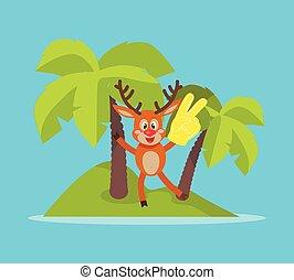 Vacation on Tropic Island Cartoon Vector Concept