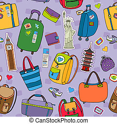 Vacation or travel background seamless pattern