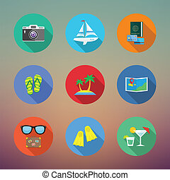 Vacation or Travelling Flat Style Vector Icon Set With Long Shadows on Abstract Background