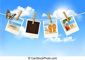 Vacation photos hanging on a rope. Vector.
