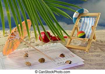 Vacation planning - Calendar, lounge chair and umbrella on a...