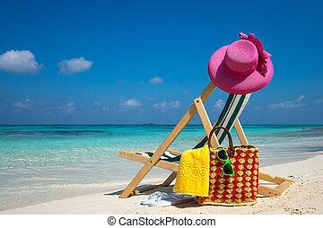 vacation., praia, tropicais, sonhos, lounger, quadro, praia...