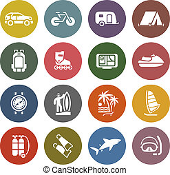 Vacation, Recreation & Travel, icons set - Retro color ...