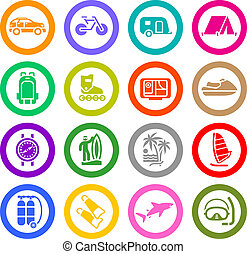 Vacation, Recreation & Travel, icons set. Sport, Tourism. ...