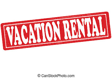 Stamp with text vacation rental inside, vector illustration