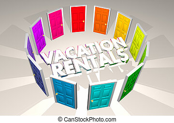 Vacation Rentals Rent Property Options Doors 3d Illustration