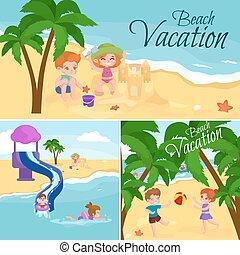 vacation., sand, vatten, strand, leka, sommar, omkring, barn, lurar