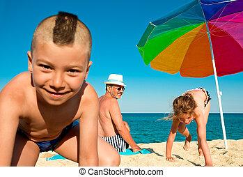 vacation sea fun grandfather children