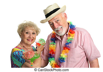 Vacation Seniors - An attractive elderly couple on a...