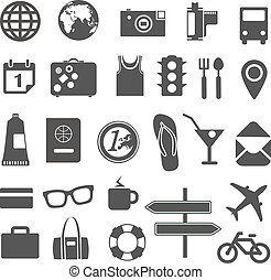 Vacation silhouettes collection isolated on white
