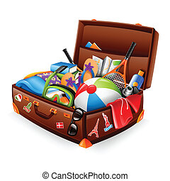 Vacation suitcase - Illustration of a stuffed suitcase -...