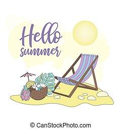 VACATION Summer Travel Cruise Tropical Vector Illustration Set