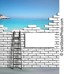 Vacation time, Ladder leading to a beautiful beach