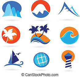 Vacation, travel and holiday icons