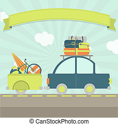 Vacation travel card - A car with luggage trailer, many bags...