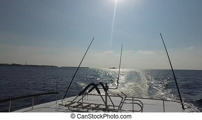 deck of sailboat or yacht sailing in sea - vacation, travel...