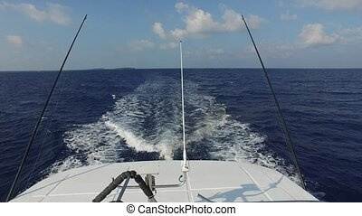 deck of sailboat or yacht sailing in sea