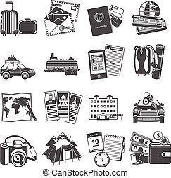Vacation travel icons set black