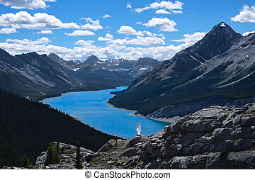 Vacation travel in Canadian Rockies in summer.