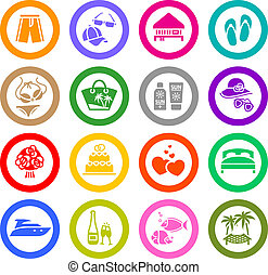 Vacation, Travel & Recreation, icons set