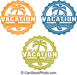 Vacation Travel Stamp - Collection of stamps featuring beach...