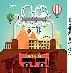 Vacation travelling concept. Vector travel illustration with different famous sights