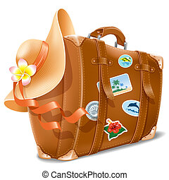 Vector illustration with retro travel suitcase and beach hat