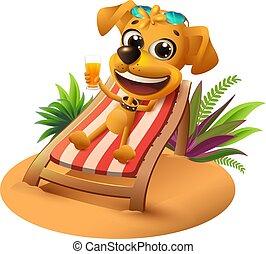 vacation., verano, playa, perro, amarillo
