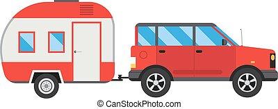 vacation., voiture, véhicule, maison, caravane, voyage, été...